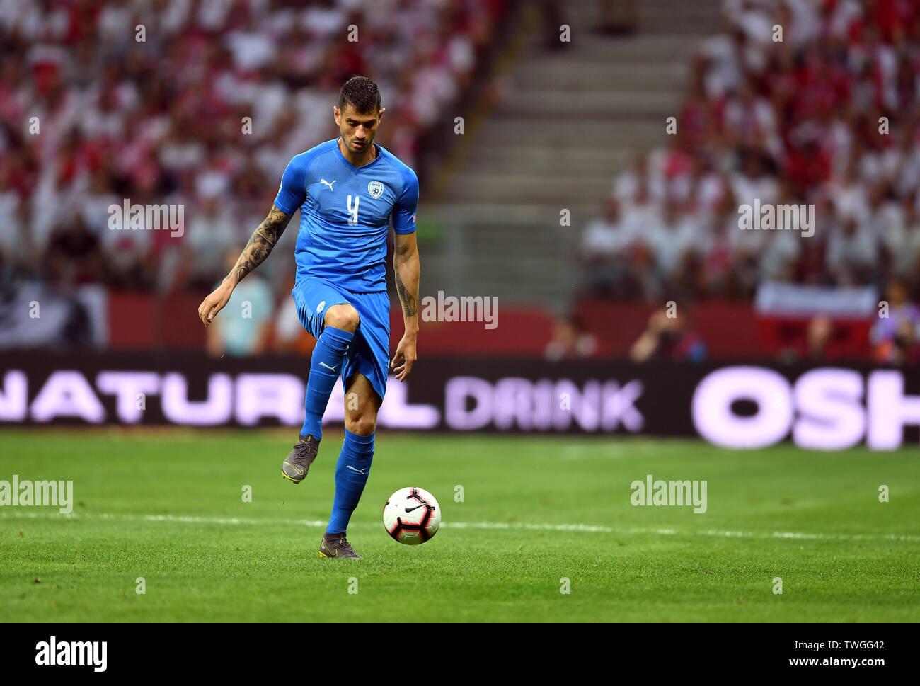 Warsaw, Poland, June 10, 2019: EURO 2020 qualifing round, group stage, Poland wins 4:0 with Izarel on PGE Narodowy. Nir Bitton (Izrael) - Stock Image