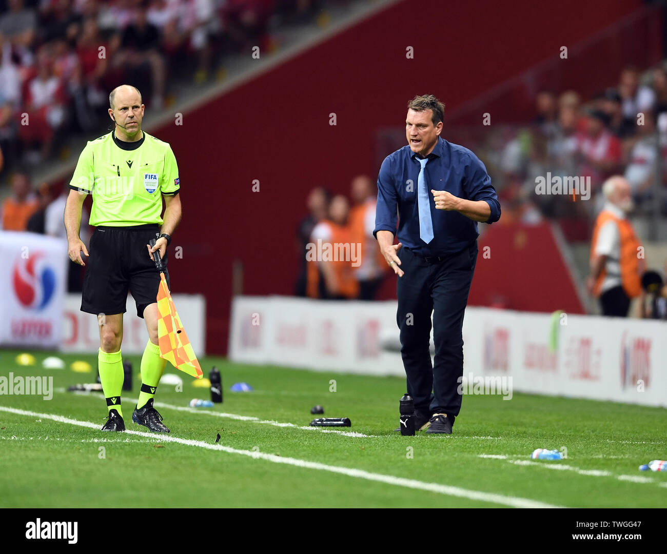 Warsaw, Poland, June 10, 2019: EURO 2020 qualifing round, group stage, Poland wins 4:0 with Izarel on PGE Narodowy. Andreas Herzog coach (Izrael) - Stock Image