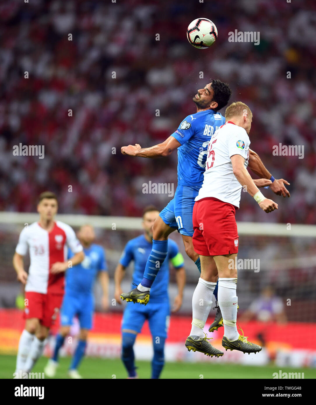 Warsaw, Poland, June 10, 2019: EURO 2020 qualifing round, group stage, Poland wins 4:0 with Izarel on PGE Narodowy. Omri Ben Harush (Izrael) - Stock Image
