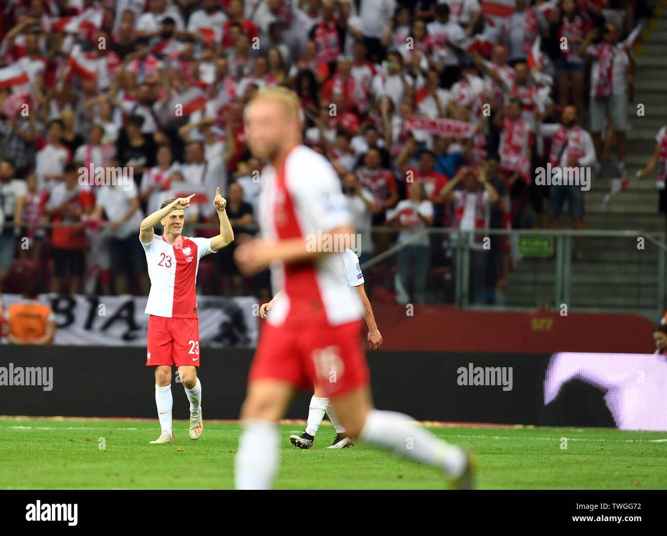 Warsaw, Poland, June 10, 2019: EURO 2020 qualifing round, group stage, Poland wins 4:0 with Izarel on PGE Narodowy. Krzysztof Piatek (Poland) celebrates his goal - Stock Image