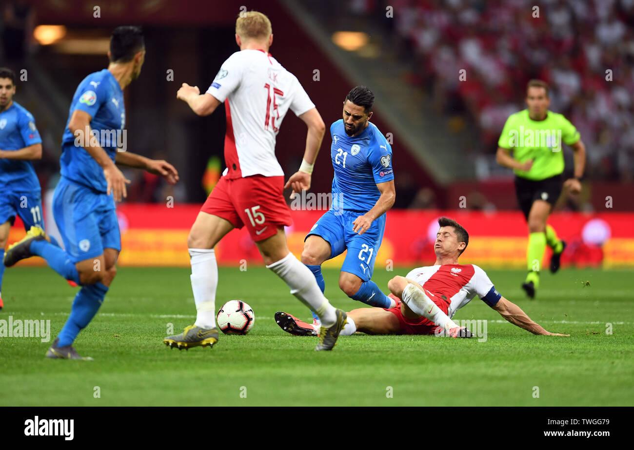Warsaw, Poland, June 10, 2019: EURO 2020 qualifing round, group stage, Poland wins 4:0 with Izarel on PGE Narodowy. Beram Kayal (Izrael) Robert Lewandowski (Poland) - Stock Image