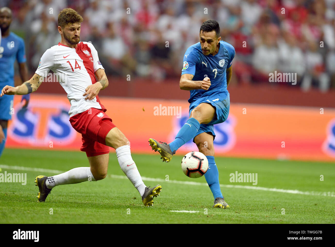 Warsaw, Poland, June 10, 2019: EURO 2020 qualifing round, group stage, Poland wins 4:0 with Izarel on PGE Narodowy. Mateusz Klich (Poland) Eran Zahavi (Izrael) - Stock Image
