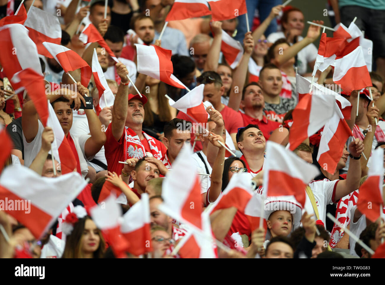 Warsaw, Poland, June 10, 2019: EURO 2020 qualifing round, group stage, Poland wins 4:0 with Izarel on PGE Narodowy. Polish fans - Stock Image