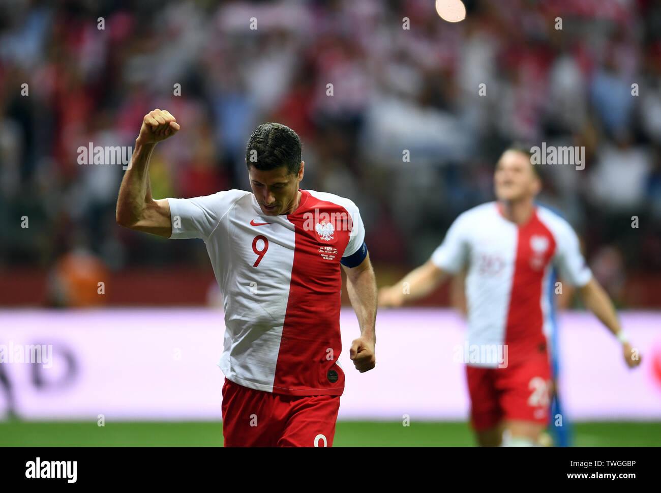 Warsaw, Poland, June 10, 2019: EURO 2020 qualifing round, group stage, Poland wins 4:0 with Izarel on PGE Narodowy. Robert Lewandowski (Poland) celebrates his goal - Stock Image