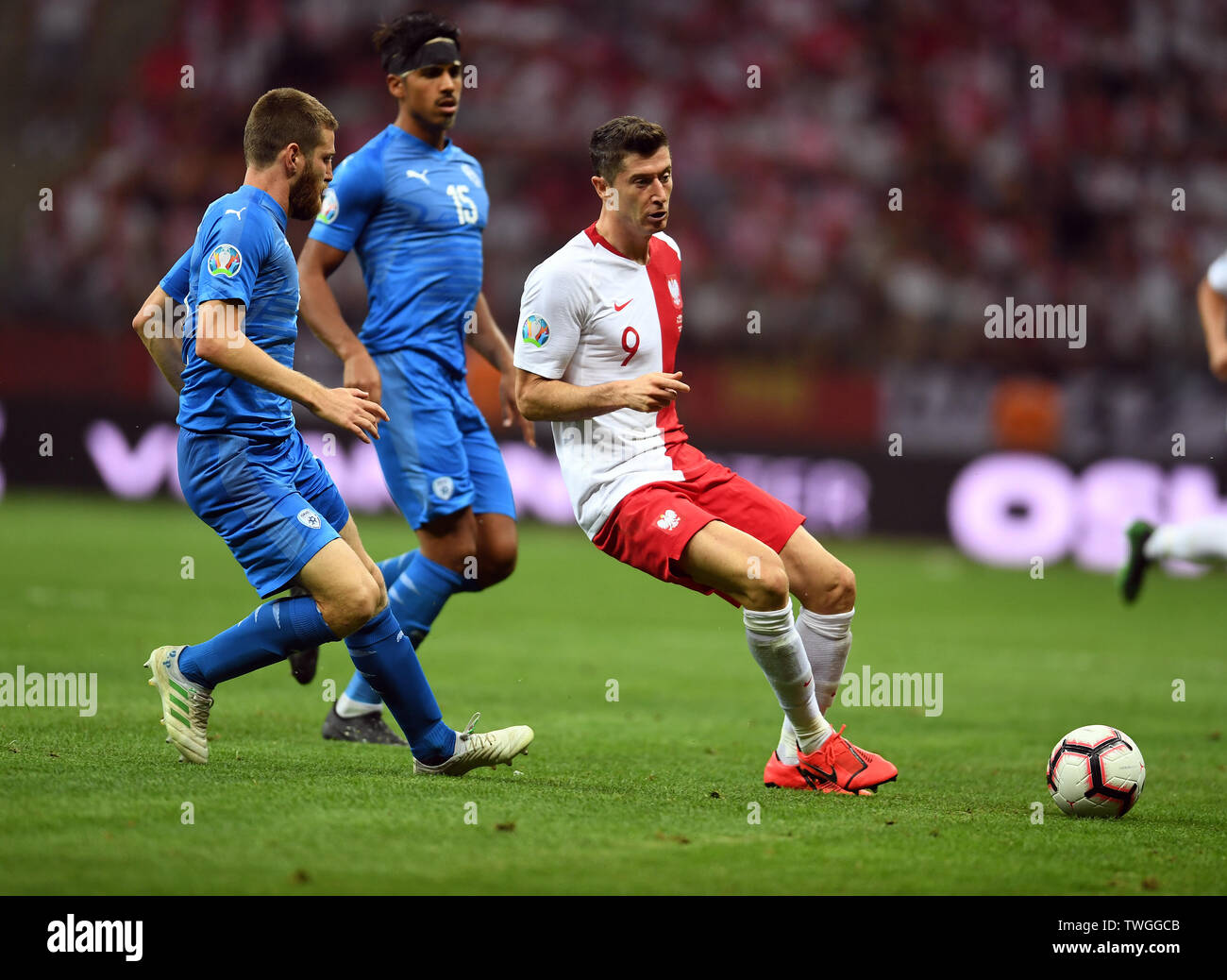 Warsaw, Poland, June 10, 2019: EURO 2020 qualifing round, group stage, Poland wins 4:0 with Izarel on PGE Narodowy. Robert Lewandowski (Poland) - Stock Image
