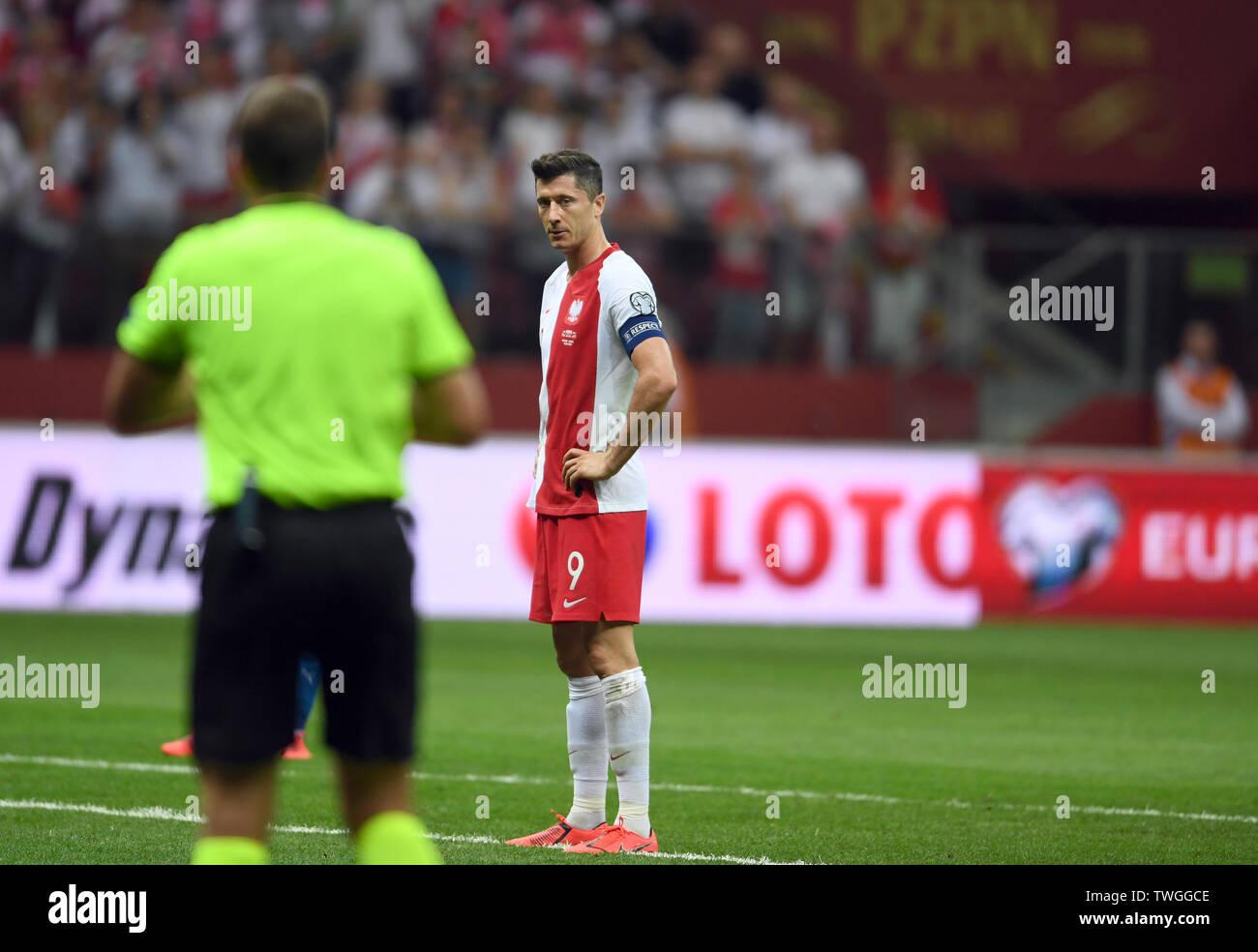 Warsaw, Poland, June 10, 2019: EURO 2020 qualifing round, group stage, Poland wins 4:0 with Izarel on PGE Narodowy. Robert Lewandowski (Poland)  is waiting to make a penalty shot - Stock Image
