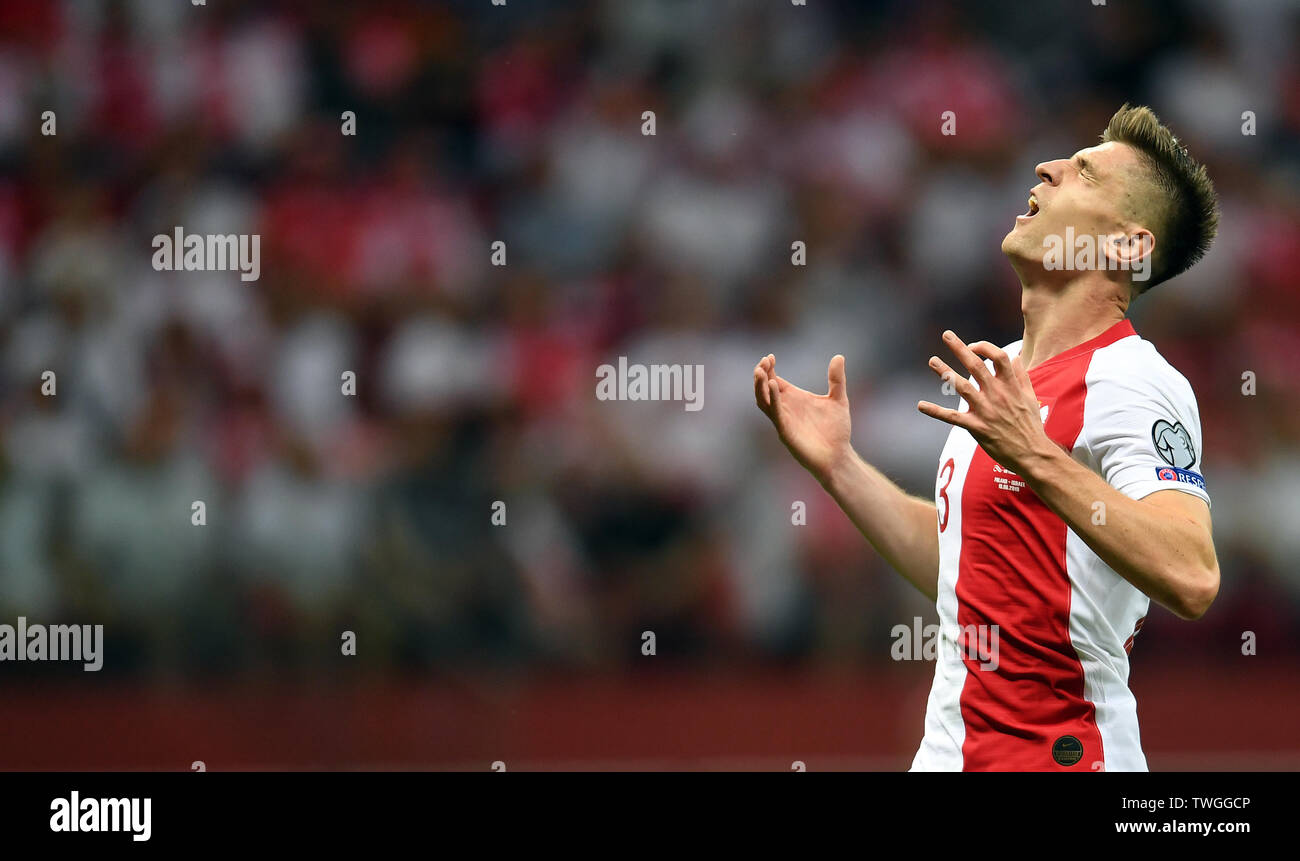 Warsaw, Poland, June 10, 2019: EURO 2020 qualifing round, group stage, Poland wins 4:0 with Izarel on PGE Narodowy. Krzysztof Piatek (Poland) - Stock Image