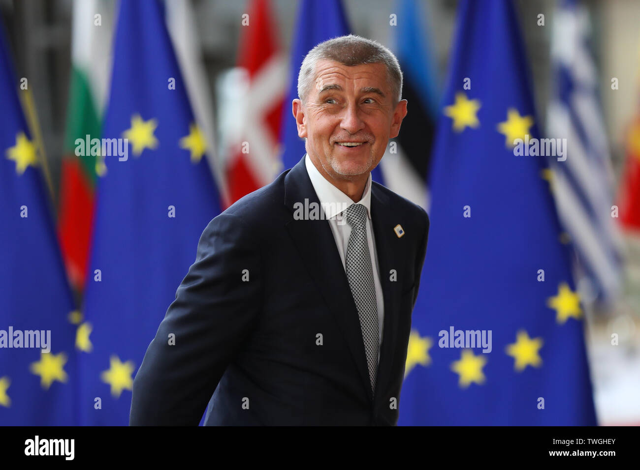 Brussels, Belgium. 20th June, 2019. Czech Prime Minister Andrej Babis arrives for the EU summer summit in Brussels, Belgium, June 20, 2019. Credit: Zhang Cheng/Xinhua/Alamy Live News - Stock Image