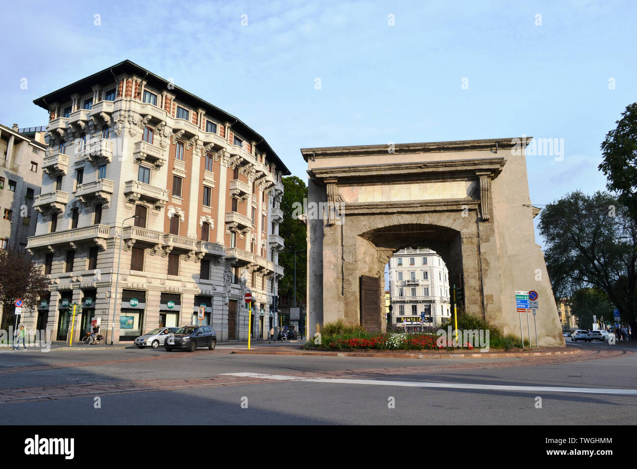 Milan/Italy - October 10, 2015: Internal view from the part of the city to the Porta Romana ancient gate of Milan with 2 enormous old wooden doors. Stock Photo