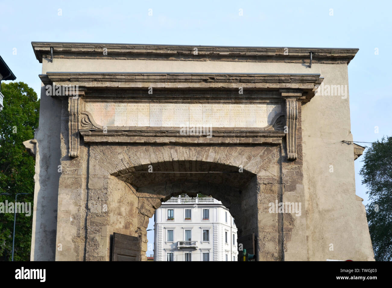 Detail of the internal view from the part of the city to the Porta Romana ancient gate of Milan from year 1596. Stock Photo