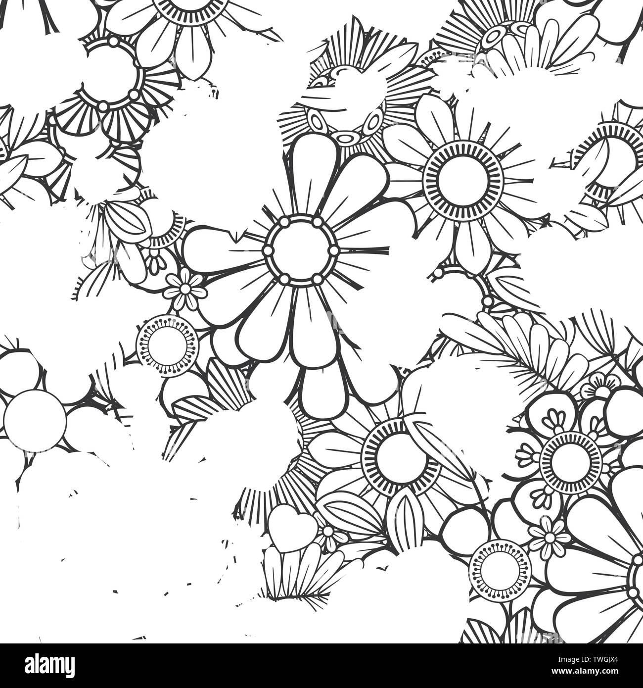 Printable Happy Valentine's Day Flowers Coloring Page for Kids ... | 1390x1300