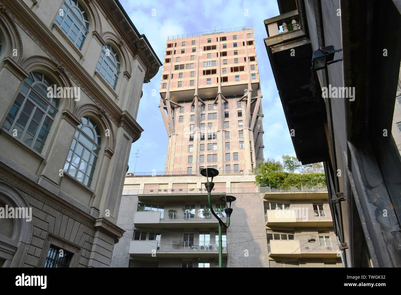 View to the Velasca Tower, one of Milan city downtown old skyscrapers, in a sunny day. Stock Photo