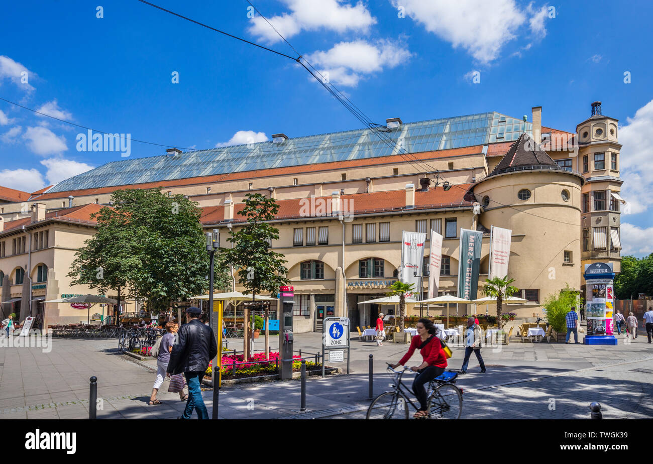 Stuttgarter Markthalle (market hall), prominent Art Nouveau building in the inner city of Stuttgart, Baden-Württemberg, Germany - Stock Image