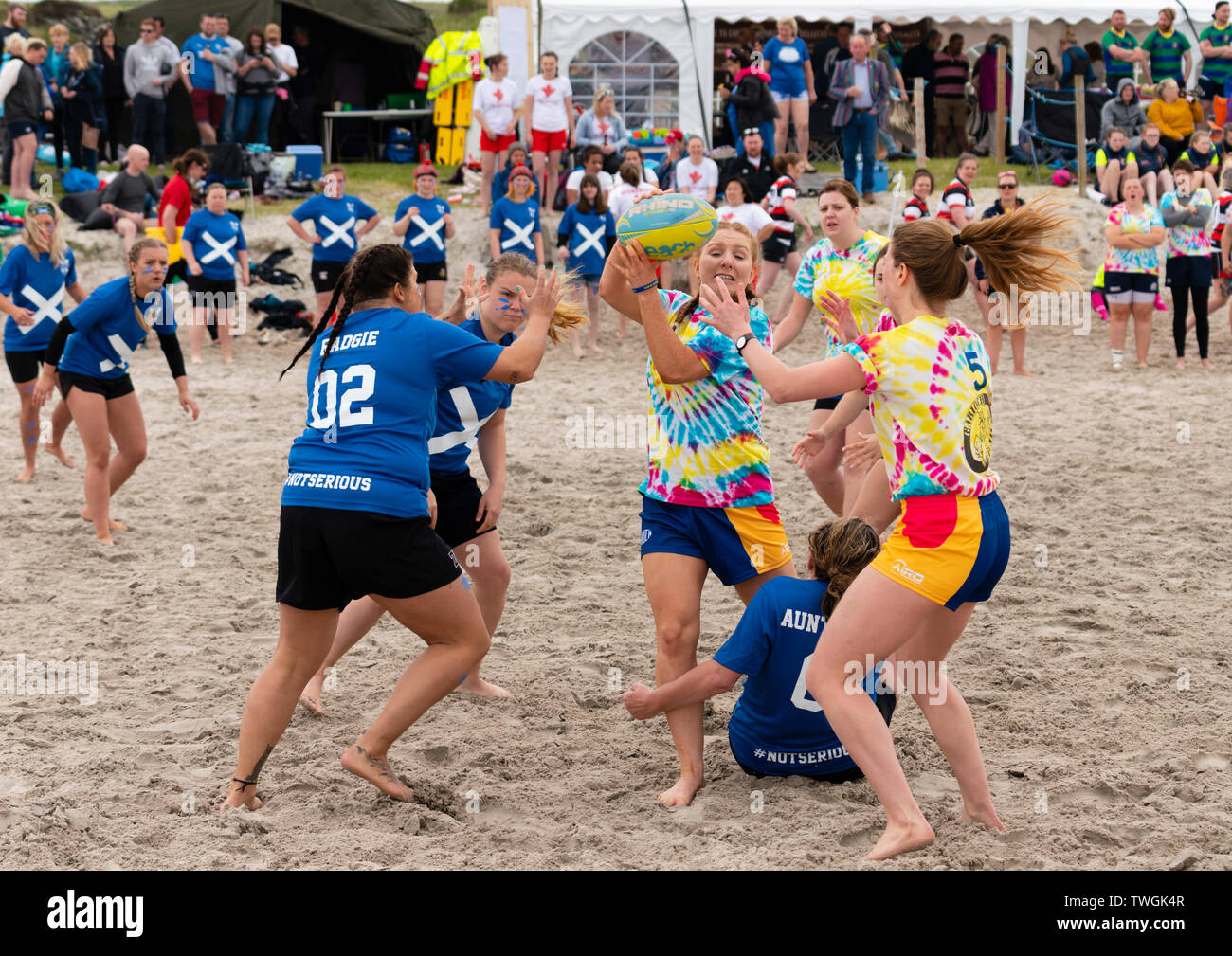 Beach rugby tournament  on 8 June 2019 at Port Ellen on Islay in inner Hebrides in Scotland, UK Stock Photo