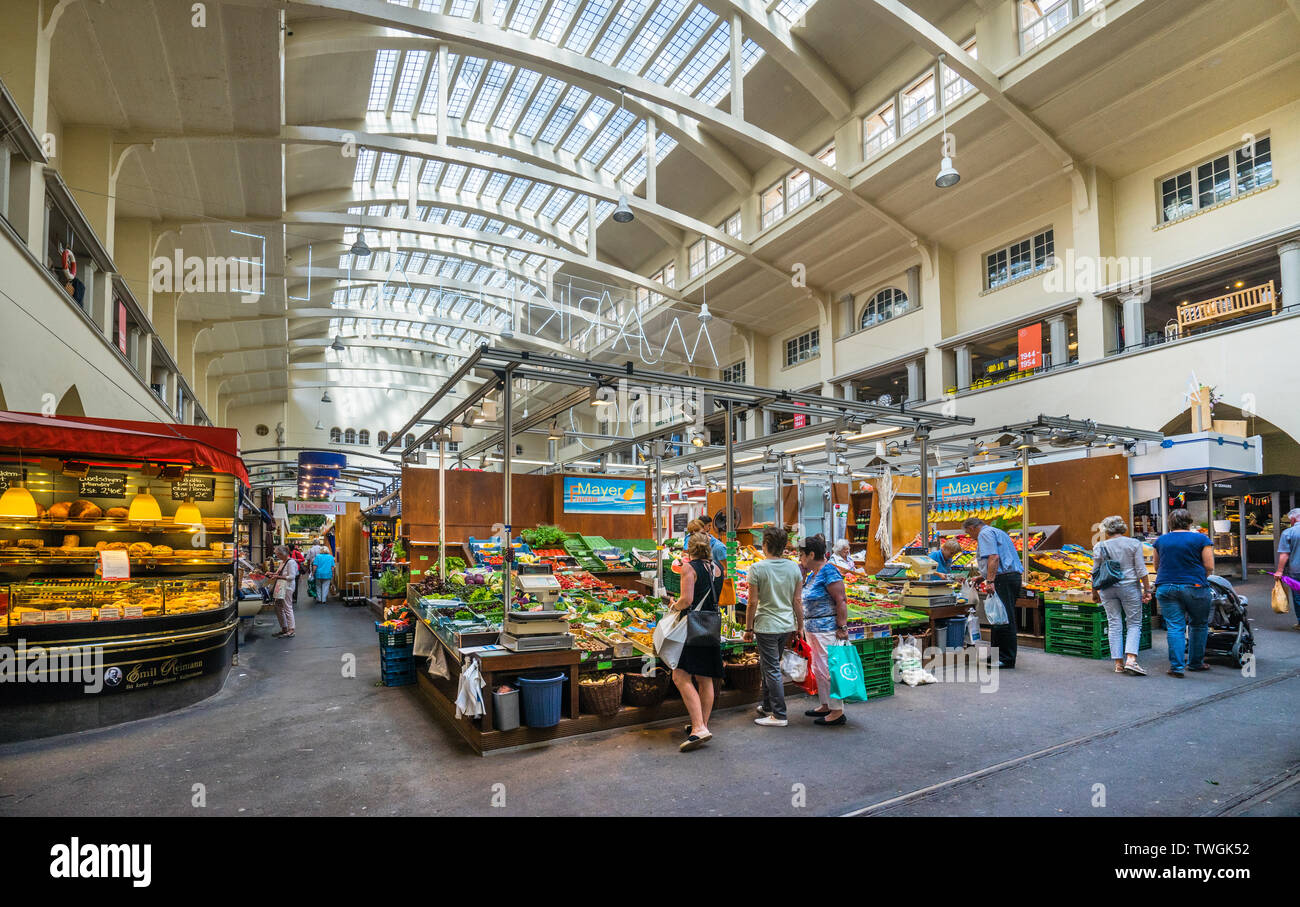 interior view of the Stuttgarter Markthalle (market hall), prominent Art Nouveau building in the inner city of Stuttgart, Baden-Württemberg, Germany - Stock Image