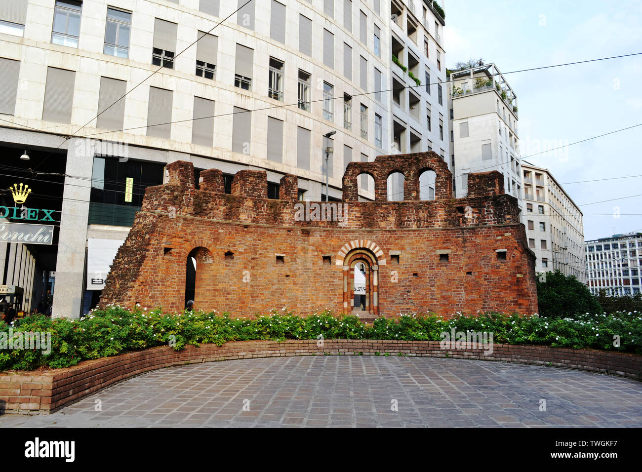 Milan/Italy - October 10, 2015: Red brick wall remained from the medieval cathedral San Giovanni in Conca in Milan. - Stock Image