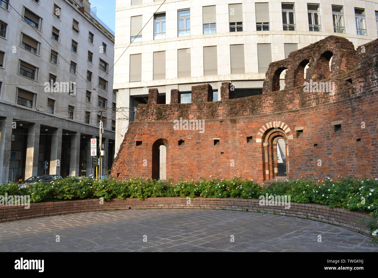 Milan/Italy - October 10, 2015: Red brick wall remained from the medieval cathedral San Giovanni in Conca in Milan. Stock Photo
