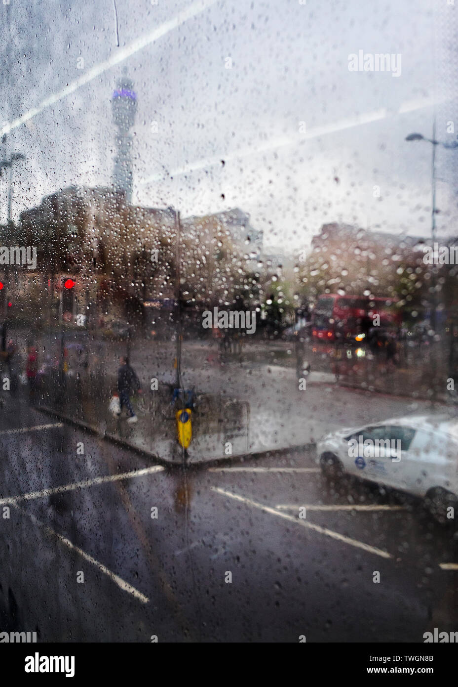 rainy view of euston road and the post office  BT tower. Stock Photo