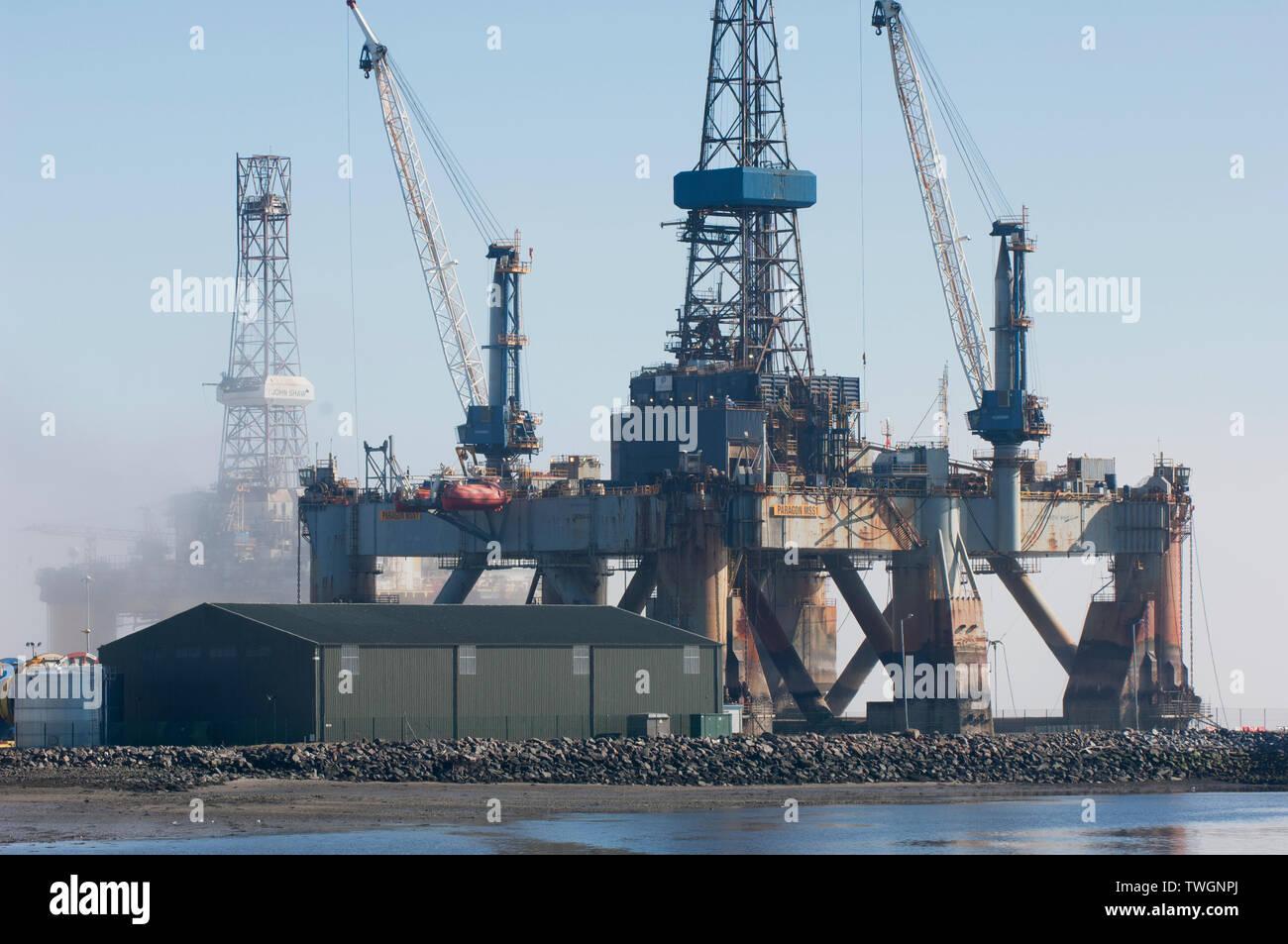 Oil rigs in the Cromarty Firth off Invergordon - Ross-shire, Scotland. - Stock Image