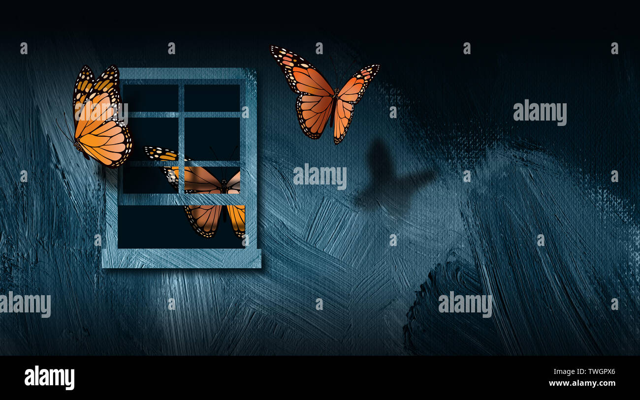 Graphic of iconic butterflies escaping an open window to freedom. Simple, dramatic art for variety of relationship, behavioral and mental help themes - Stock Image