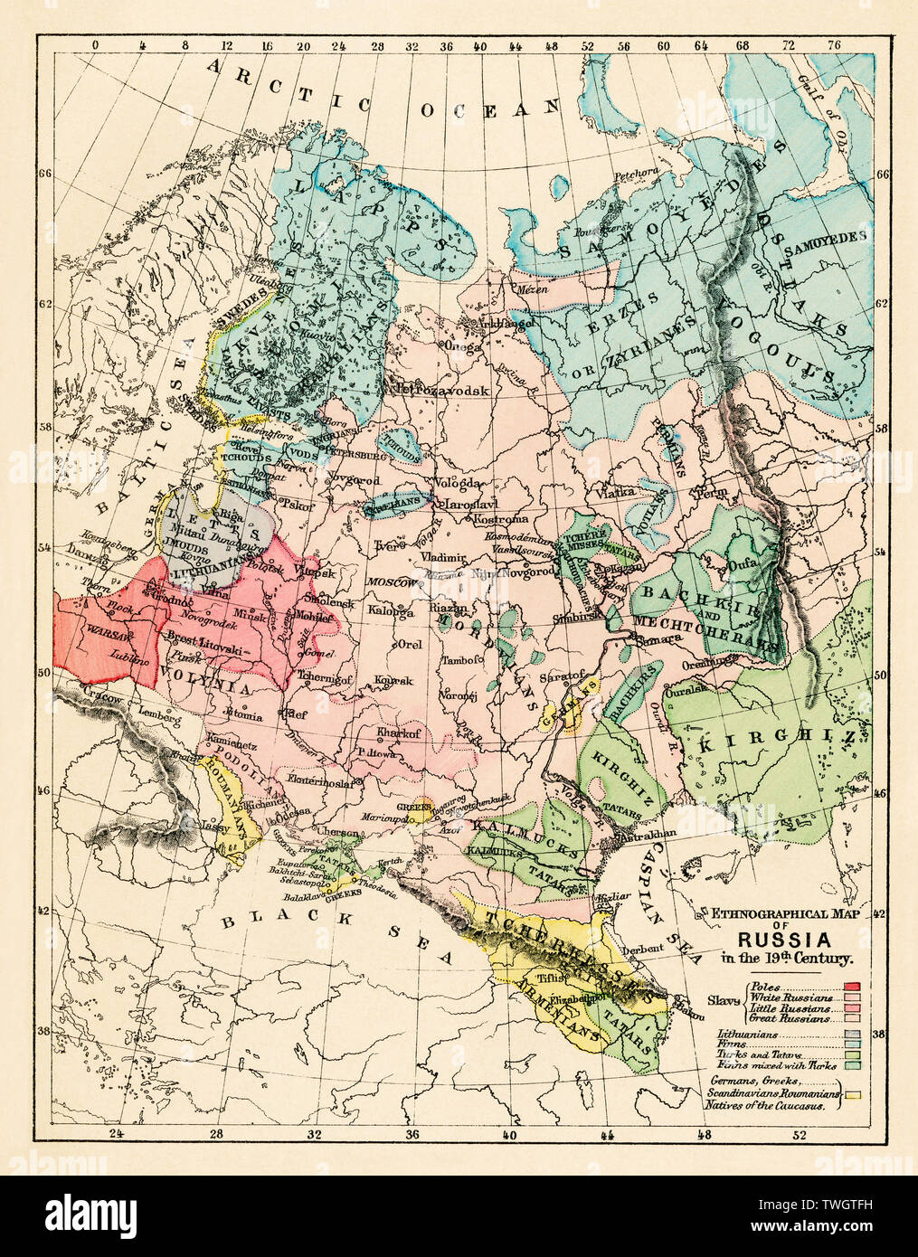 Ethnographic map of Russian Empire in the 19th century. Color lithograph Stock Photo