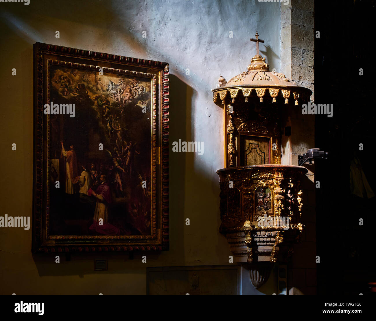 Pulpit of The Church of San Juan Bautista, located in the fishing village of Pasajes de San Juan. Gipuzkoa, Basque country, Spain. - Stock Image