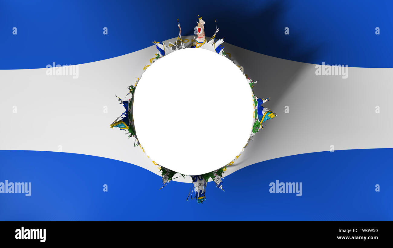 Hole cut in the flag of El Salvador - Stock Image