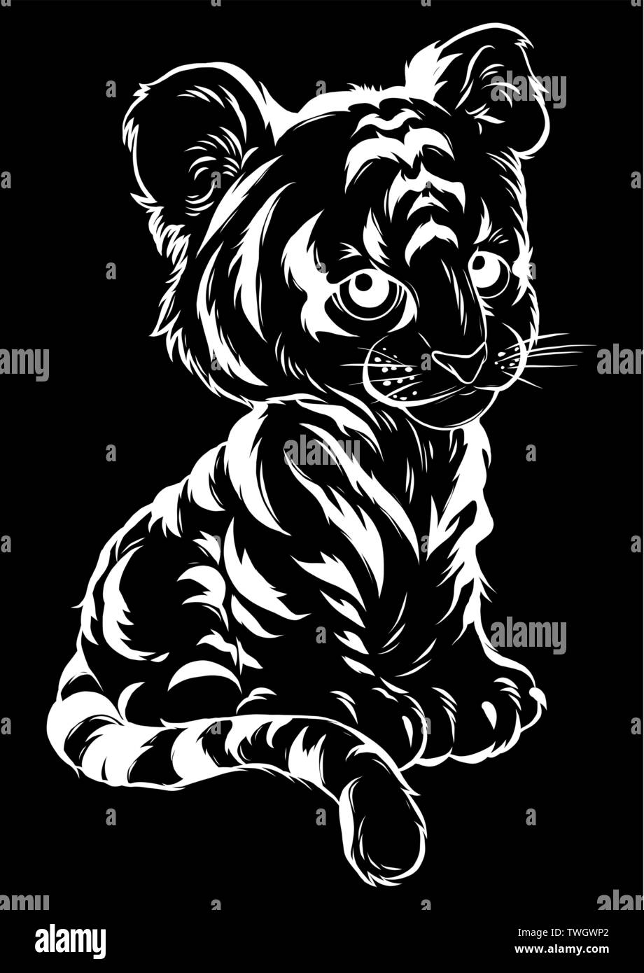 vector Illustration of cute baby tiger lies - Stock Vector