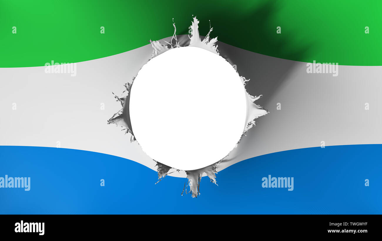 Hole cut in the flag of Sierra Leone - Stock Image