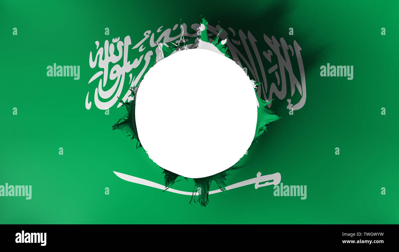 Hole cut in the flag of Saudi Arabia - Stock Image