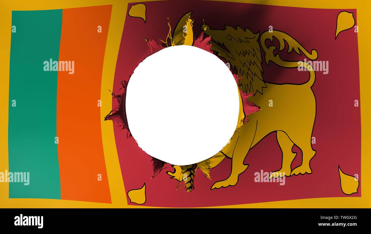 Hole cut in the flag of Sri Lanka Stock Photo