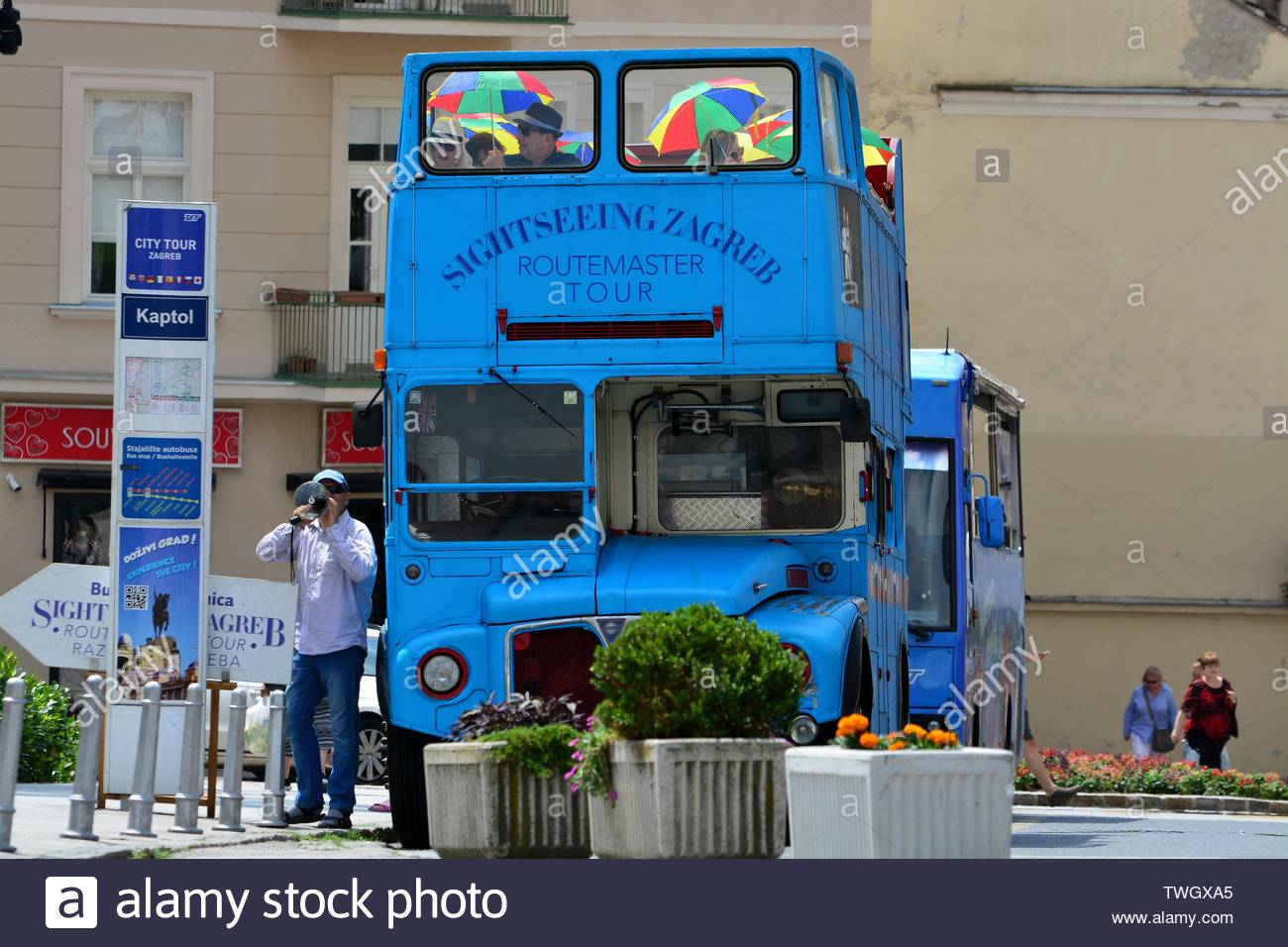Tourists bus in Zagreb,Croatia - Stock Image