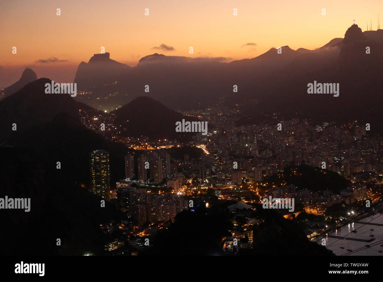 Rio de Janeiro at sunset view from Sugar Loaf Stock Photo