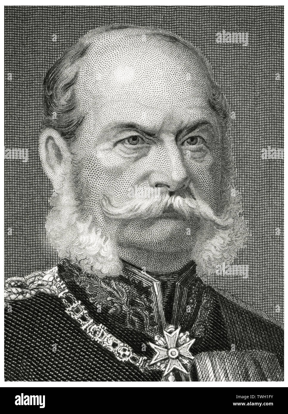 William I (1797-1888), Emperor of Germany 1871-88, Head and Shoulders Portrait, Steel Engraving, Portrait Gallery of Eminent Men and Women of Europe and America by Evert A. Duyckinck, Published by Henry J. Johnson, Johnson, Wilson & Company, New York, 1873 - Stock Image