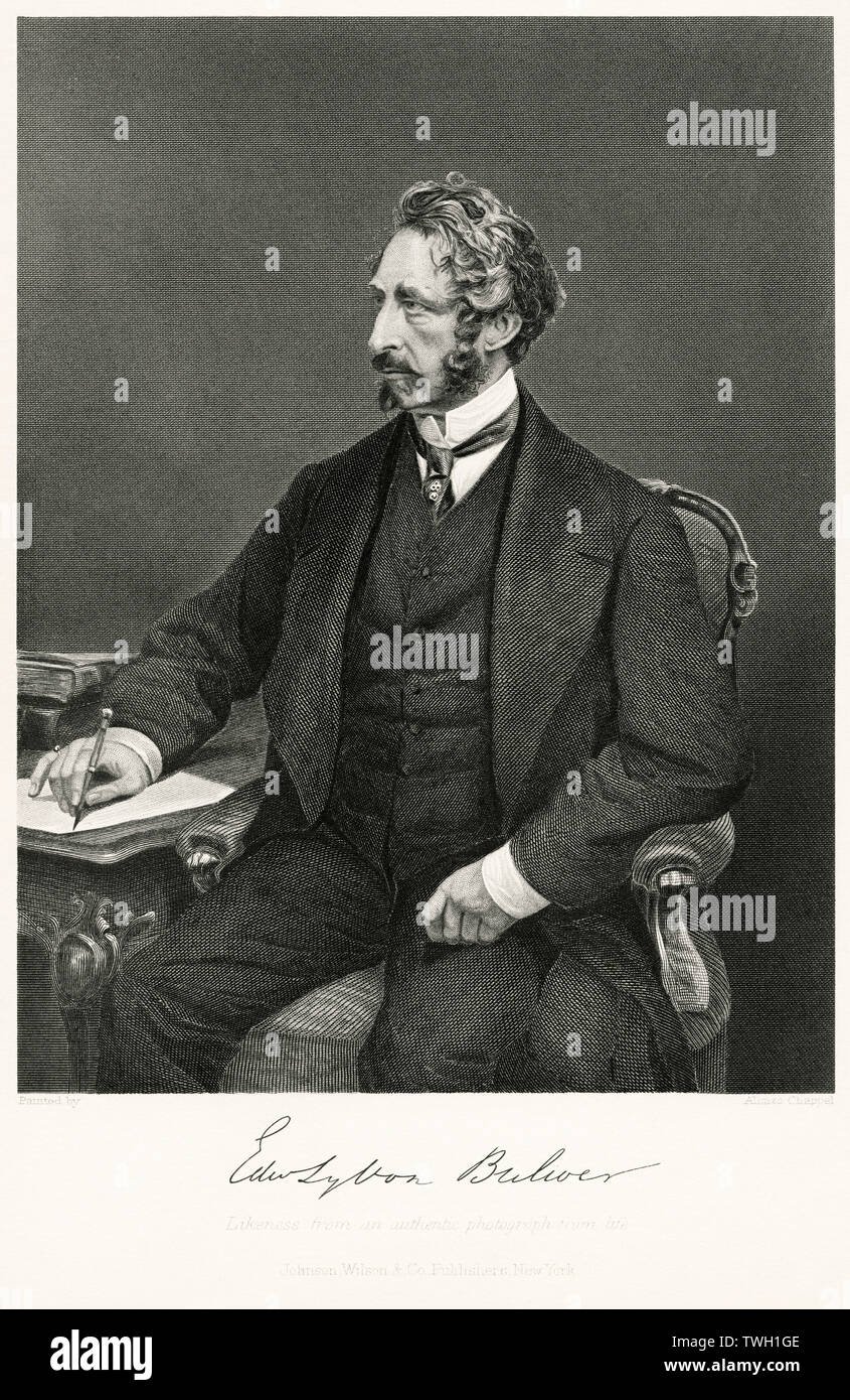 Edward Bulwer-Lytton (1803-73), 1st Baron Lytton, English Poet, Novelist and Politician, Steel Engraving, Portrait Gallery of Eminent Men and Women of Europe and America by Evert A. Duyckinck, Published by Henry J. Johnson, Johnson, Wilson & Company, New York, 1873 Stock Photo