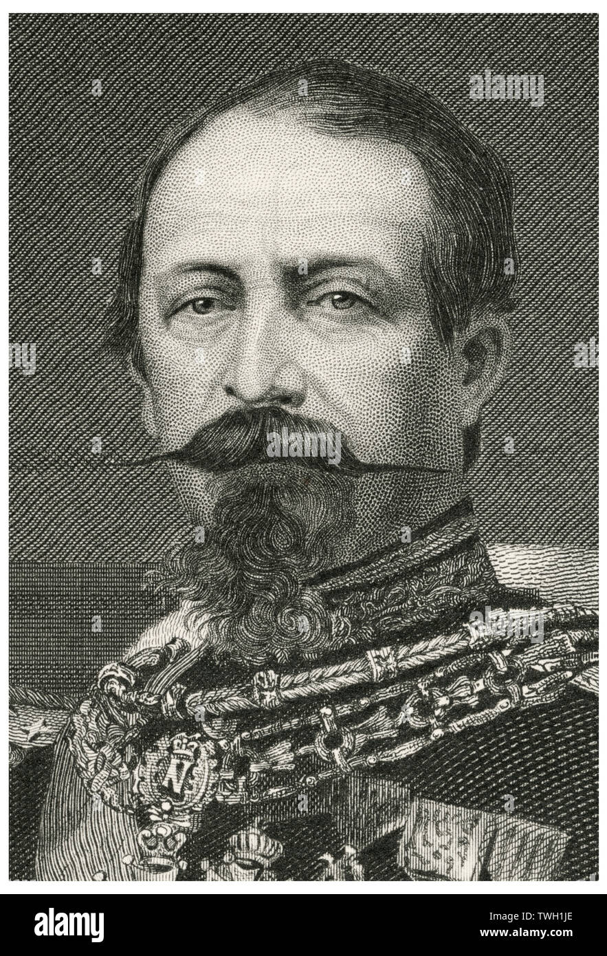 Napoleon III (1803-1873), First Elected President of France 1848-52, Emperor of the French 1852-1870, Head and Shoulders Portrait, Steel Engraving, Portrait Gallery of Eminent Men and Women of Europe and America by Evert A. Duyckinck, Published by Henry J. Johnson, Johnson, Wilson & Company, New York, 1873 - Stock Image