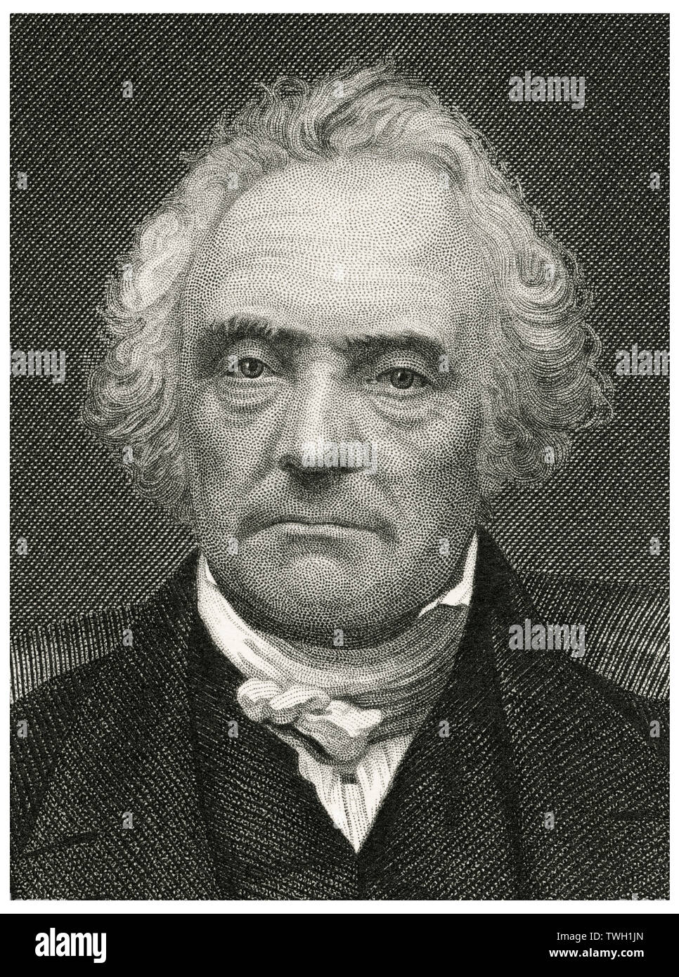 Thomas Chalmers (1780-1847), Scottish minister, professor of theology, political economist, and a leader of both the Church of Scotland and of the Free Church of Scotland, Head and Shoulders Portrait, Steel Engraving, Portrait Gallery of Eminent Men and Women of Europe and America by Evert A. Duyckinck, Published by Henry J. Johnson, Johnson, Wilson & Company, New York, 1873 - Stock Image