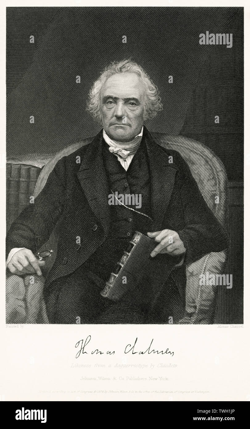 Thomas Chalmers (1780-1847), Scottish minister, professor of theology, political economist, and a leader of both the Church of Scotland and of the Free Church of Scotland, Head and Shoulders Portrait, Seated Portrait, Steel Engraving, Portrait Gallery of Eminent Men and Women of Europe and America by Evert A. Duyckinck, Published by Henry J. Johnson, Johnson, Wilson & Company, New York, 1873 - Stock Image