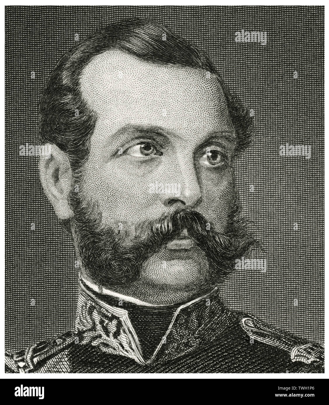 Alexander II (1818-81), Emperor of Russia 1855-81, Head and Shoulders Portrait, Steel Engraving, Portrait Gallery of Eminent Men and Women of Europe and America by Evert A. Duyckinck, Published by Henry J. Johnson, Johnson, Wilson & Company, New York, 1873 - Stock Image