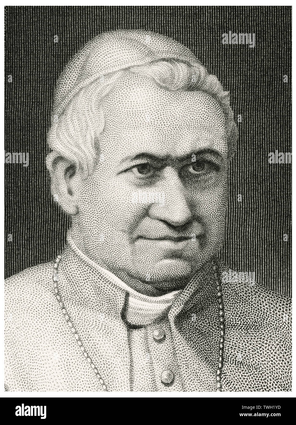 Pope Pius IX (1792-1878), Head of Catholic Church 1846-78, Head and Shoulders Portrait, Steel Engraving, Portrait Gallery of Eminent Men and Women of Europe and America by Evert A. Duyckinck, Published by Henry J. Johnson, Johnson, Wilson & Company, New York, 1873 Stock Photo