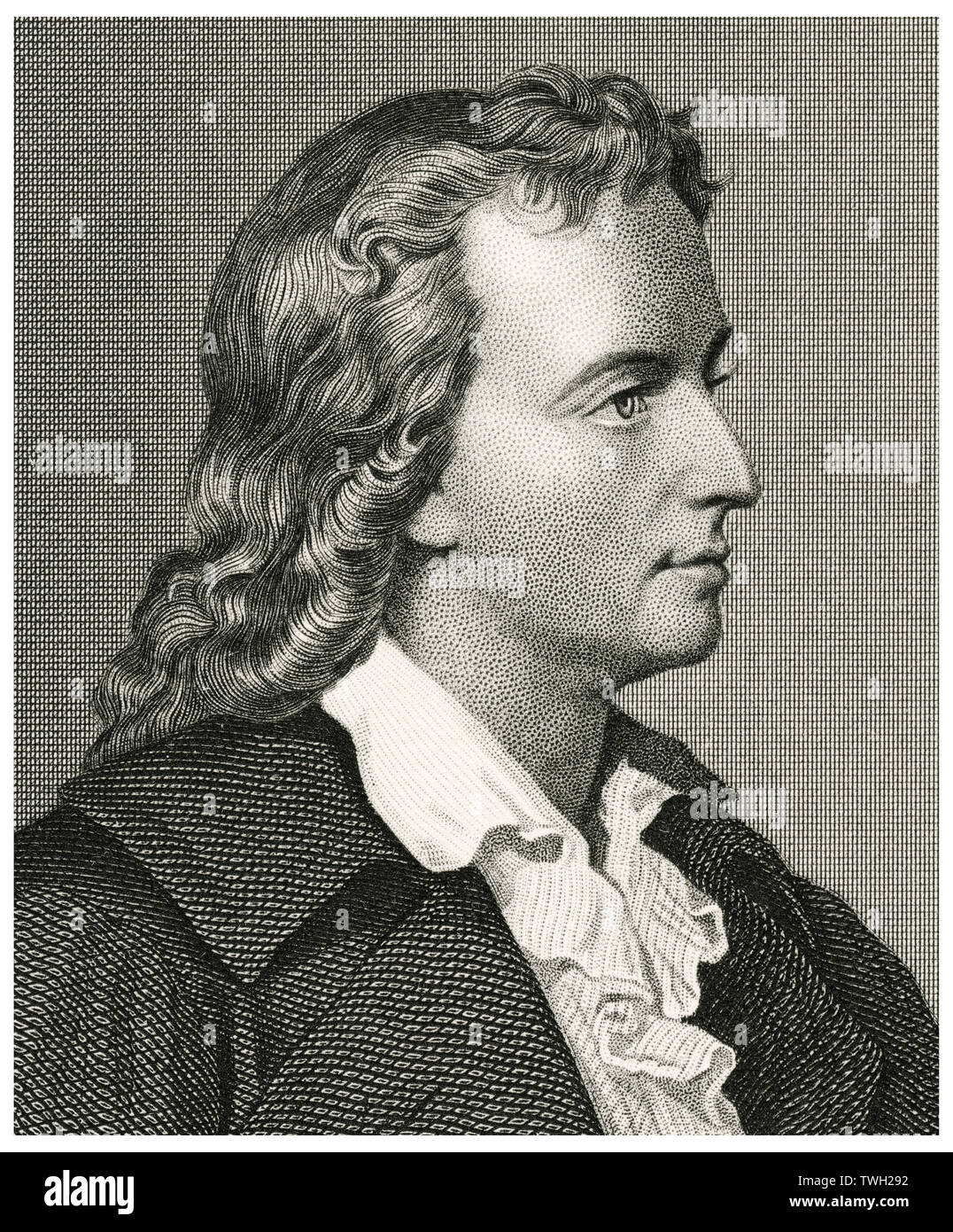 Freidrich Schiller (1759-1805), German Dramatist, Poet, and Literary Theorist, Head and Shoulders Portrait, Steel Engraving, Portrait Gallery of Eminent Men and Women of Europe and America by Evert A. Duyckinck, Published by Henry J. Johnson, Johnson, Wilson & Company, New York, 1873 Stock Photo