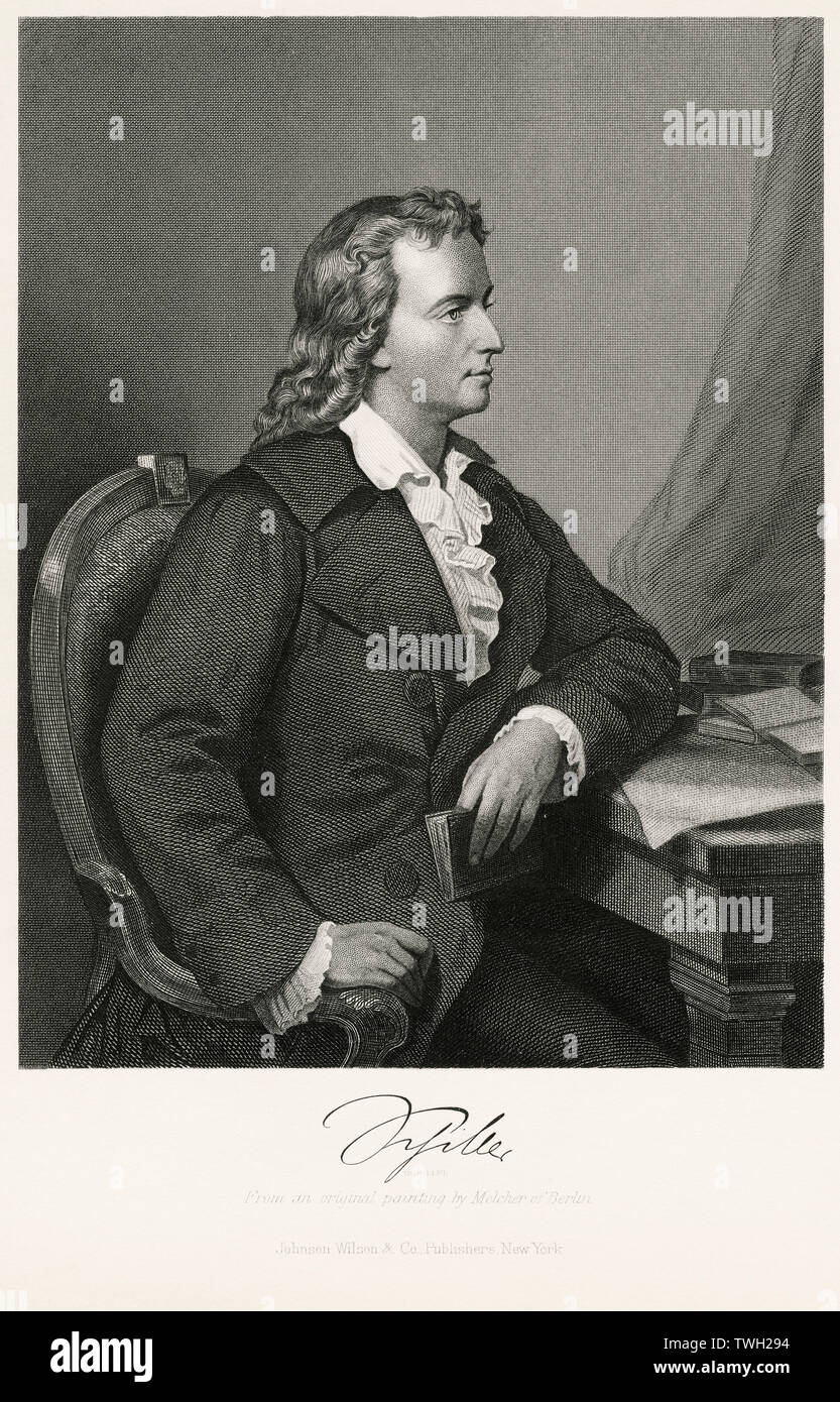Freidrich Schiller (1759-1805), German Dramatist, Poet, and Literary Theorist, Seated Portrait, Steel Engraving, Portrait Gallery of Eminent Men and Women of Europe and America by Evert A. Duyckinck, Published by Henry J. Johnson, Johnson, Wilson & Company, New York, 1873 - Stock Image