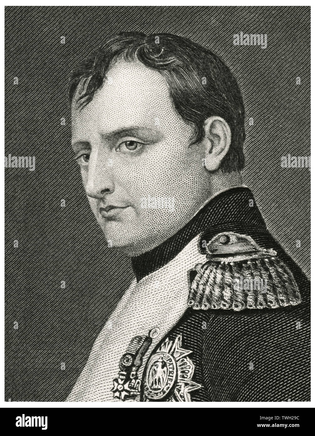 Napoleon Bonaparte (1769-1821), Emperor of France as Napoleon I 1804-14 and briefly in 1815, Head and Shoulders Portrait, Steel Engraving, Portrait Gallery of Eminent Men and Women of Europe and America by Evert A. Duyckinck, Published by Henry J. Johnson, Johnson, Wilson & Company, New York, 1873 - Stock Image