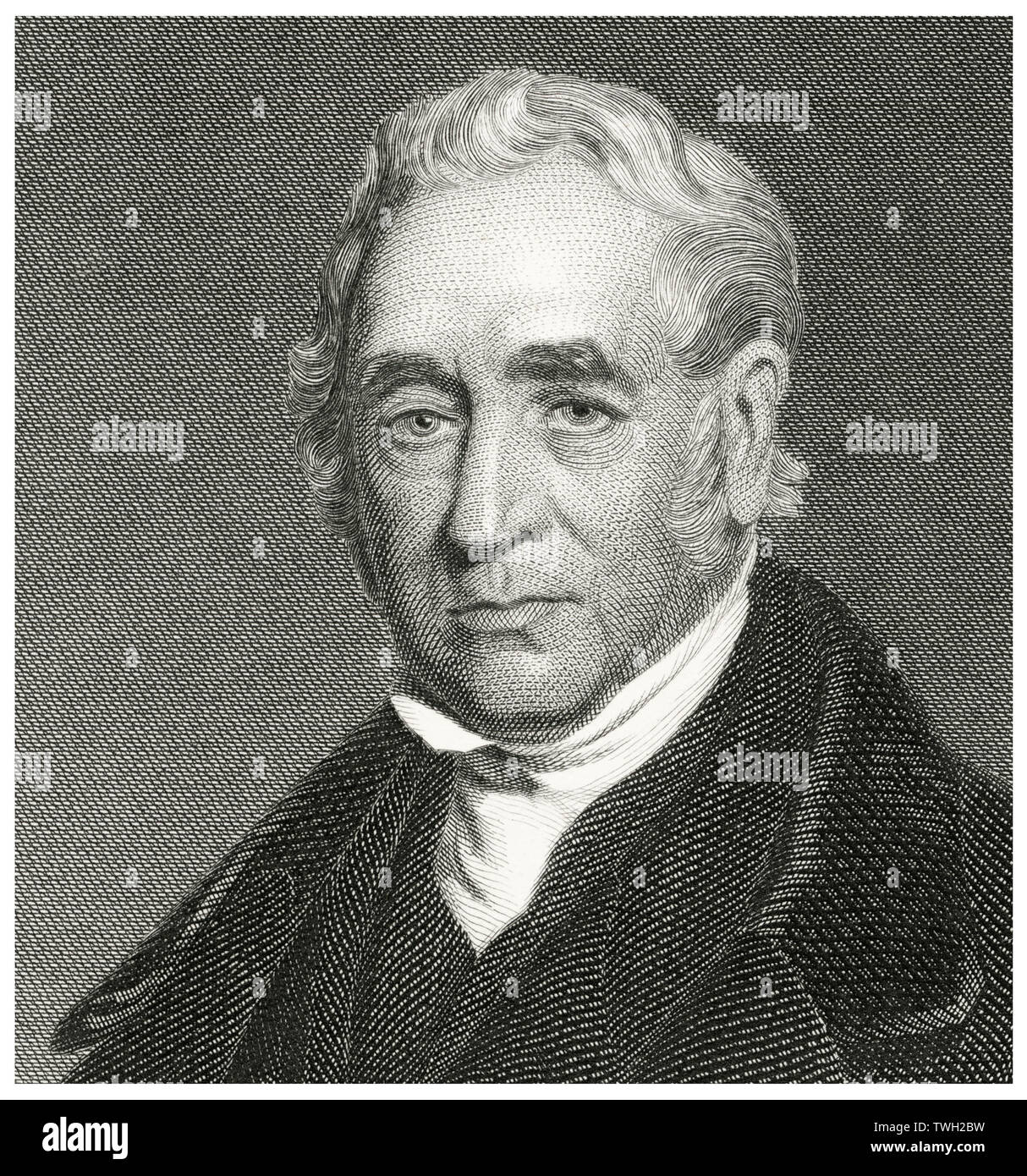 George Stephenson (1781-1848), English Engineer and Principal Inventor of the Railroad Locomotive, Head and Shoulders Portrait, Steel Engraving, Portrait Gallery of Eminent Men and Women of Europe and America by Evert A. Duyckinck, Published by Henry J. Johnson, Johnson, Wilson & Company, New York, 1873 - Stock Image
