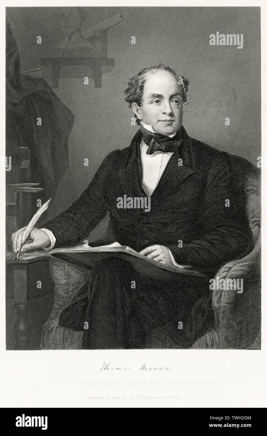 Thomas Moore (1779-1852), Irish Poet Composer and Political Propagandist, Seated Portrait, Steel Engraving, Portrait Gallery of Eminent Men and Women of Europe and America by Evert A. Duyckinck, Published by Henry J. Johnson, Johnson, Wilson & Company, New York, 1873 - Stock Image
