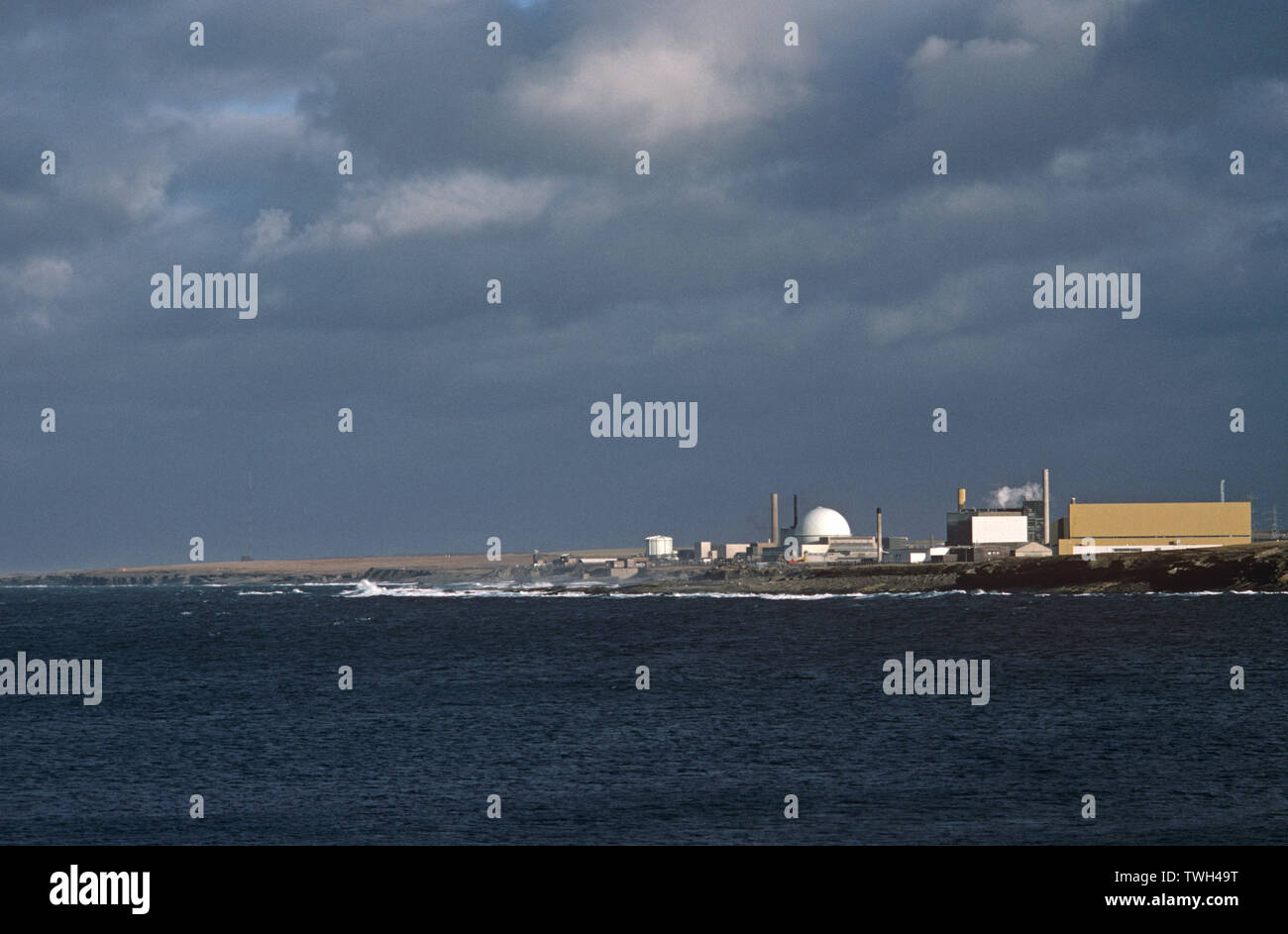 Dounreay nuclear Power station under the UKAEA, UNITED KINGDOM ATOMIC ENERGY AUTHORITY. Dounreay was decommissioned in 1994, - Stock Image