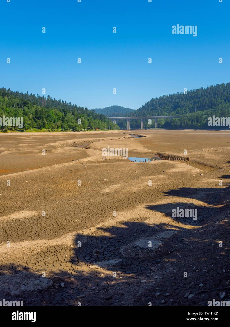 Dried lake-bed Bajer in Fuzine Croatia Spring 2019 earth terrain with isolated small ponds Stock Photo
