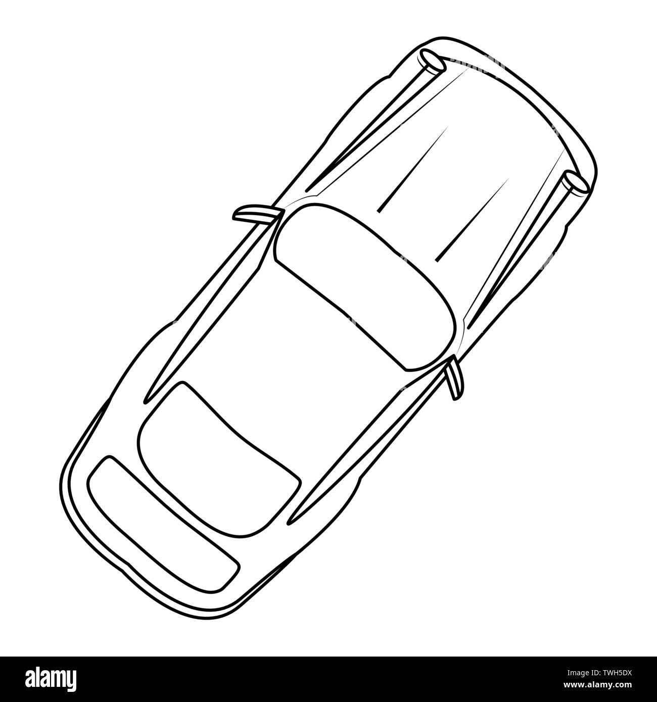 car vehicle top view white background vector illustration - Stock Image