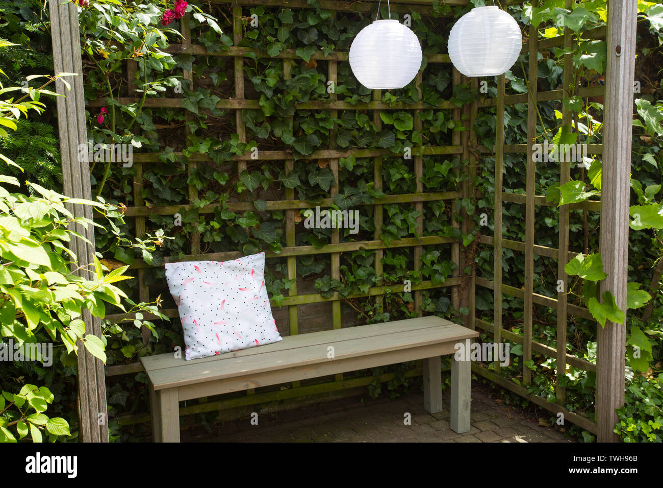 Heavy Duty Counter Stools, Wooden Bench With The Overgrown Canopy In Home Landscaped Garden In Summer Beautiful Flower Garden With Paving Path In Backyard Cozy Natural Stock Photo Alamy