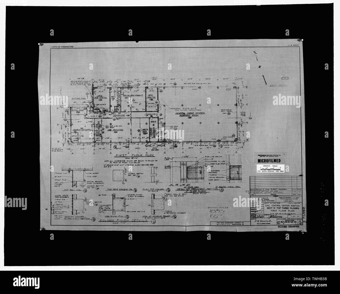 Sac Control Center Addition Sect 9 Top Three Floors First Floor Plan Drawing Number As Blt Aw30 02 03 Dated May 1958 Offutt Air Force Base Strategic Air Command Headquarters And Command Center Headquarters Building 901